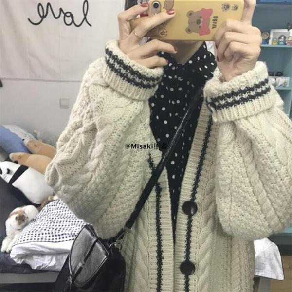 全館83折 毛衣女秋裝2018新款韓版學生寬鬆加厚原宿慵懶風麻花針織開衫外套