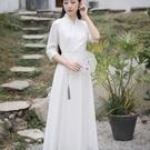 漢服 抖音同款中國風茶服女收腰白色漢服改良禪服仙氣古風連衣裙夏 快速出貨