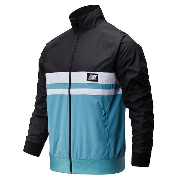 New Balance 男裝 外套 慢跑 懷舊 防風 防潑水 內層網布 黑 白 藍【運動世界】AMJ01503BK