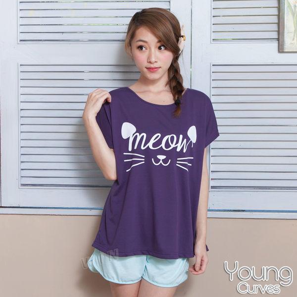 彈性睡衣 紫色貓咪