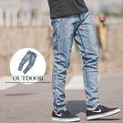 牛仔褲 立體抓皺淺藍刷色直筒牛仔褲【N9...