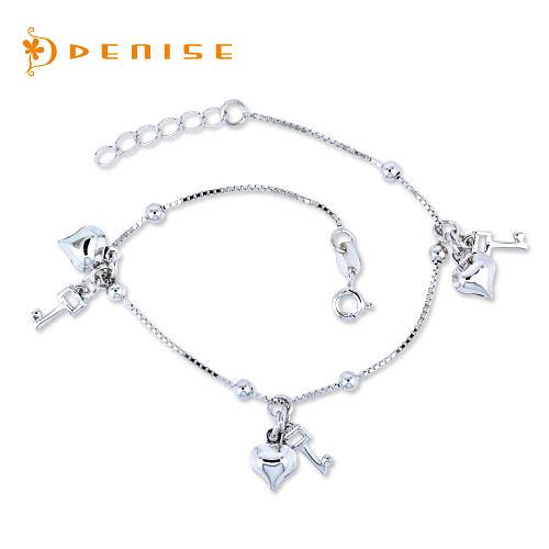 手鍊 925純銀「心鎖手鍊」銀飾禮品/情人禮物