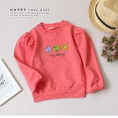 純棉 彩色小花公主袖粉上衣 繽紛 可愛 手繪 塗鴉 秋冬童裝 女童上衣 女童長袖 女童棉T 女童T恤