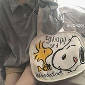 帆布包YOHOO! /ins日韓卡通涂鴉可愛史努比插畫側背帆布包購物袋學生女 衣間迷你屋