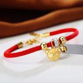 【新年鉅惠】刻字豬年本命年紅繩手鍊女轉運珠小金豬生肖送福編織紅色手繩禮物