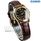 CASIO卡西歐 LTP-V001GL-1B 休閒時尚簡潔大方數字真皮腕錶 防水手錶 女錶 金x黑 LTP-V001GL-1BUDF