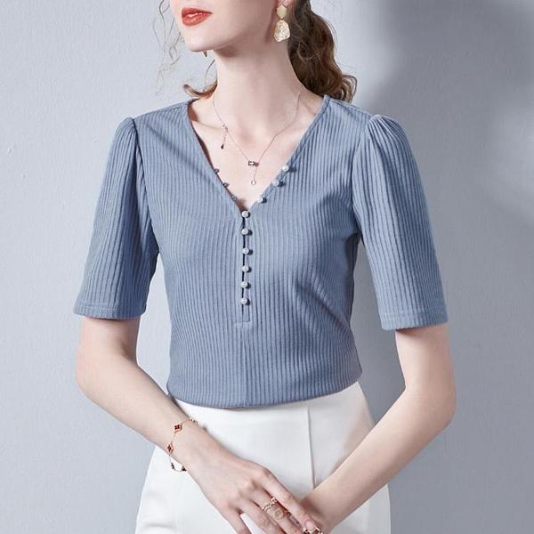 泡泡袖 年春季新品基礎純色短袖上衣V領休閑百搭泡泡袖女式T恤