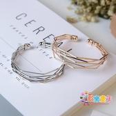 手鐲 歐美時尚流行飾品金屬簡約幾何多層次氣質百搭開口手鐲手環女配飾 2色