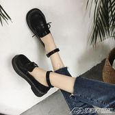 日繫原宿學院軟妹Lolita鬆糕厚底鞋圓頭一字扣帶娃娃鞋少女小皮鞋   潮流前線