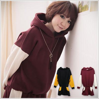 連帽 韓版配色溫暖內裡鋪毛洋裝式長帽T-共兩色【U356】☆雙兒網☆ Candy Cloud.