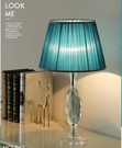 110V-220V 藍色燈罩大號水晶檯燈客廳簡約現代時尚臥室床頭燈--不送光源