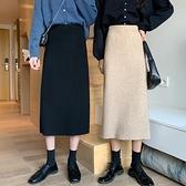 秋季2020年新款針織半身裙女秋冬中長款高腰包臀裙冬季黑色A字裙 黛尼時尚精品
