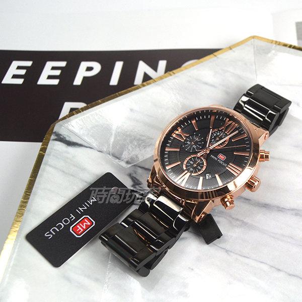 MINI FOCUS 大錶徑 真三眼計時 羅馬時刻男錶 日期視窗 不銹鋼 防水手錶 IP黑x玫瑰金 MF0219玫黑