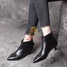 短靴 35-40 潮尖頭真皮短靴女2021年秋冬季新款氣質法式高跟鞋低跟裸靴【樂淘淘】