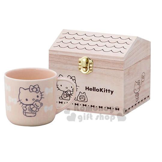 〔小禮堂〕Hello Kitty 日製陶瓷馬克杯《粉橘.小熊.蝴蝶結.木屋.房子》附木盒 4979855-20769