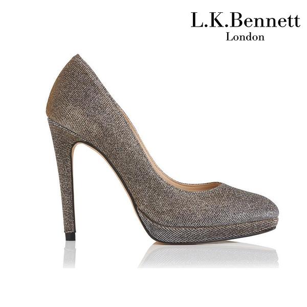 【L.K. BENNETT】凱特王妃摯愛品牌 SLEDGE經典系列 真皮圓頭防水台高跟鞋-銀 (原廠公司貨)