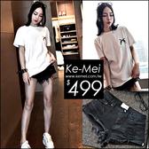 克妹Ke-Mei【ZT51226】原單!appare品牌 長腿比例側高叉破洞毛邊水洗牛仔短褲