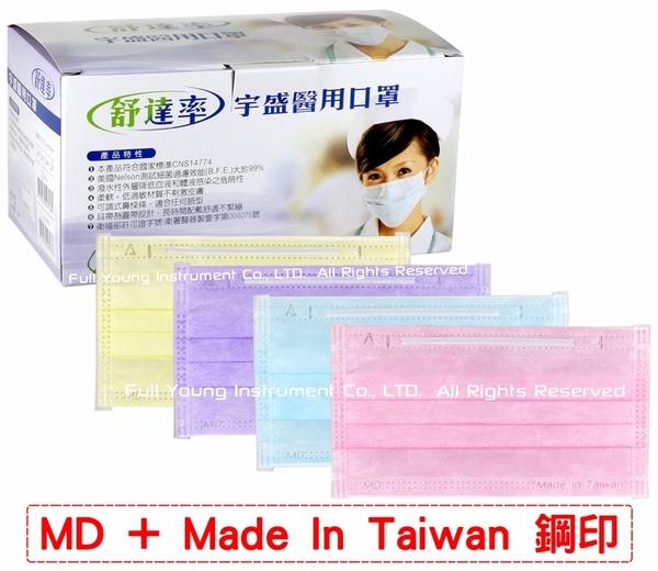 【醫康生活家】雙鋼印► 舒達率 醫用大人口罩 50入盒 -黃/紫/藍/粉/天青藍-MD醫療口罩