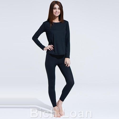 【南紡購物中心】Bich Loan居家外穿兩用衛生衣褲組-黑