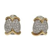 Tiffany & Co 蒂芬妮 鑲鑽石PT950鉑金18K金針式耳環 Diamond Earrings 【BRAND OFF】