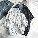 韓國ulzzang 人物印花短袖襯衫韓版 寬鬆男女學生襯衣上衣 降價兩天