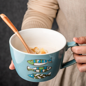杯子 大肚陶瓷杯大號早餐杯燕麥杯牛奶杯大容量大口馬克杯子可愛卡通杯 快速出貨