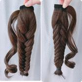 假髮 手工蓬松魚骨辮子假髮馬尾 編髮中長卷髮 女 時尚假髮馬尾辮 城市科技