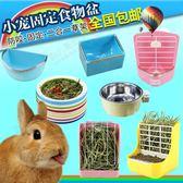 寵物兔食盆固定兔食槽彈簧草架龍貓兔草架荷蘭豬食盒用品食物盆   米娜小鋪
