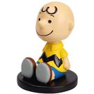 Marimo 立體造型搖頭娃娃 公仔擺飾 SNOOPY 查理布朗 坐姿 黃_FT14544