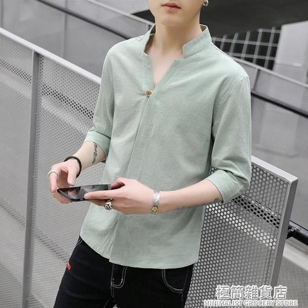 中國風亞麻七分袖襯衫男復古立領中袖襯衣棉麻透氣五分短袖上衣服 極簡雜貨