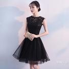 結婚晚禮服宴會高貴優雅洋裝黑色洋裝名媛小禮服顯瘦短版