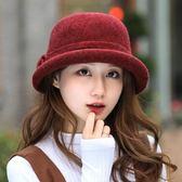 羊毛呢帽子女秋冬季韓版卷邊蝴蝶結盆帽休閑保暖禮帽中老年媽媽帽