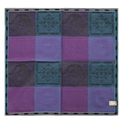 VERSACE太陽圖騰方格純棉手帕領巾(紫色)989017-4