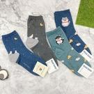 韓國襪子 可愛動物款 女襪 中筒襪 貓咪 仰望星空 長襪