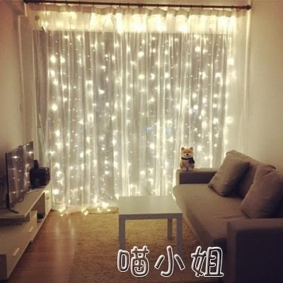 110V LED窗簾燈房間裝飾小燈串溫馨臥室彩燈節日彩燈閃燈串燈 喵小姐