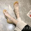 涼鞋女仙女風2020夏季新款低跟學生網紅百搭粗跟平底水鑚羅馬女鞋 小時光生活館