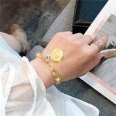 手鍊 正韓個性小眾設計手環女學生簡約錢幣森系時尚百搭個性手鍊送女友