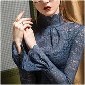 秋冬加絨洋氣喇叭袖上衣潮高領毛衣內搭蕾絲打底衫女網紗長袖 可然精品