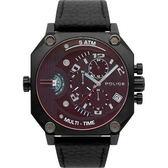 【台南 時代鐘錶 POLICE】義式潮流 冷冽科技風雙時區日期腕錶 15385JSB-02 皮帶 黑鋼 50mm