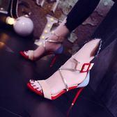 小清新少女拼色高跟鞋女夏 新款百搭細跟交叉綁帶羅馬女涼鞋潮 igo   薔薇時尚