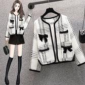 M-4XL小香風短外套~大碼女裝韓版粗花呢長袖百搭小香風外套R06B愛尚布衣