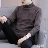 男士半高領毛衣秋冬季新款加厚寬鬆毛衣男韓版潮流個性針織衫男裝DF570【東京潮流】