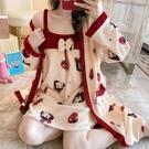 珊瑚絨睡衣女長袖春秋冬季可愛性感系繩睡袍睡裙兩件套浴袍家居服 小山好物