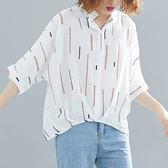 韓版寬鬆五分袖襯衫9385#新款文藝寬鬆印花短袖套頭襯衫女百搭上衣F-3F061韓依戀