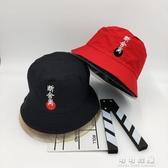戶外百搭刺繡平頂漁夫帽子青年男女防曬遮陽帽盆帽布帽可折疊 交換禮物