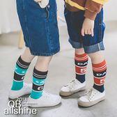 男童襪 女童襪 個性字母拼色數字兒童高筒襪 QB allshine