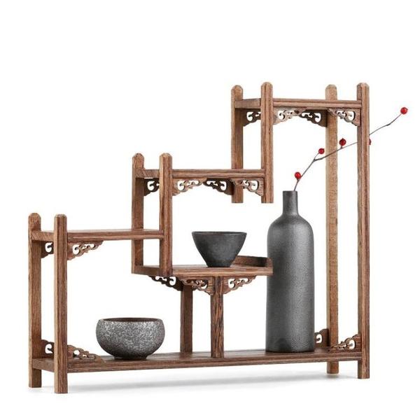 實木茶杯架子茶道茶餅架小博古架茶櫃收納置物架普洱茶壺茶具配件 ATF 童趣