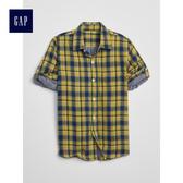 Gap男童 休閒雙層梭織可卷袖襯衫 469836-黃色格紋