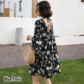 【藍色巴黎】涼感 V領系帶雪紡喇叭袖碎花連身裙 海邊度假洋裝 娃娃裝《M/L》【28698】