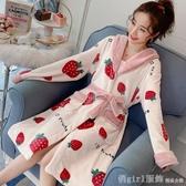 睡衣 珊瑚絨睡衣睡袍女秋冬季長款加厚加絨法蘭絨浴袍睡裙網紅爆款可愛 俏girl